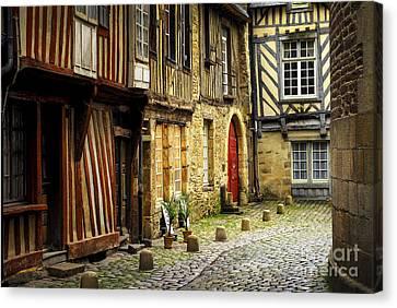 Medieval Street In Rennes Canvas Print by Elena Elisseeva