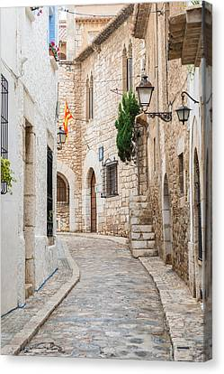 Medieval Street In Sitges Old Town Spain Canvas Print