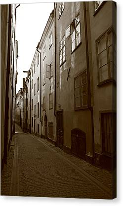 Medieval Street In Stockholm - Monochrome Canvas Print