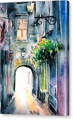 Canvas Print featuring the painting The Butter Slip  Medieval Street Kilkenny I by Trudi Doyle