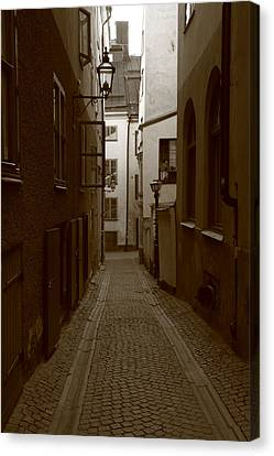 Medieval Street With Lantern - Monochrome Canvas Print
