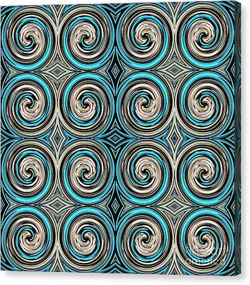 Turquoise Stained Glass Canvas Print - Medieval Tile 12 by Sarah Loft