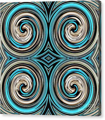 Turquoise Stained Glass Canvas Print - Medieval Tile 7 by Sarah Loft