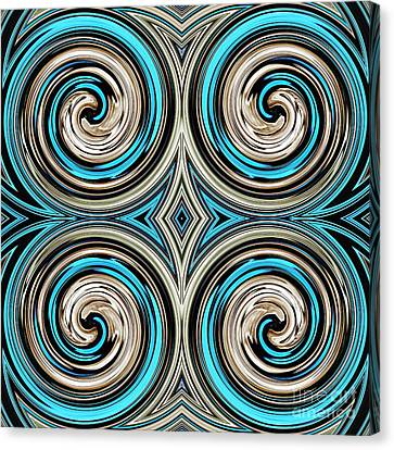 Turquoise Stained Glass Canvas Print - Medieval Tile 8 by Sarah Loft