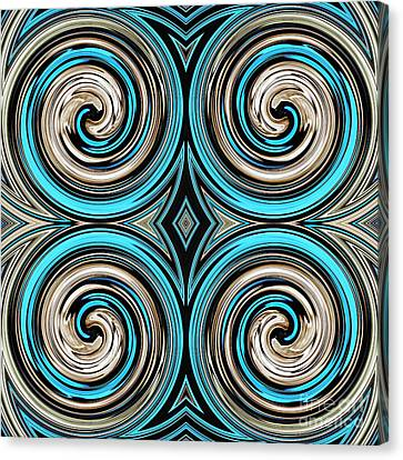 Turquoise Stained Glass Canvas Print - Medieval Tile 9 by Sarah Loft