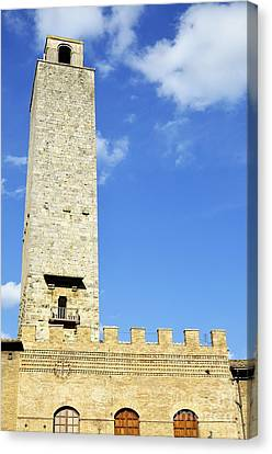 Medieval Tower In San Gimignano Canvas Print by Sami Sarkis