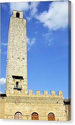 Medieval Tower In San Gimignano Canvas Print by Sami Sarkis
