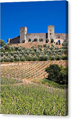 Medieval Walled Village Of Monteriggioni Chianti Tuscany Italy Canvas Print by Mathew Lodge