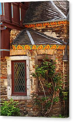 Medieval Window And Rose Bush In Germany Canvas Print by Greg Matchick