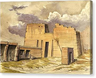 Morocco Canvas Print - Medinet Temple Egypt by Juan  Bosco