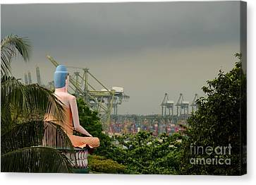 Canvas Print featuring the photograph Meditating Buddha Views Container Seaport Singapore by Imran Ahmed