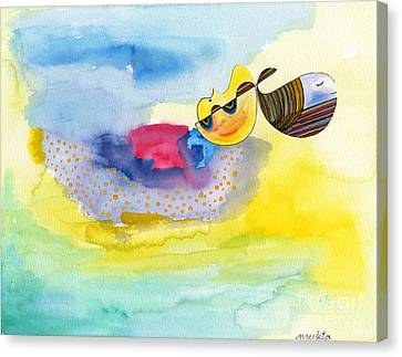 Canvas Print featuring the painting Meditating Humpback Whale In Ocean by Mukta Gupta
