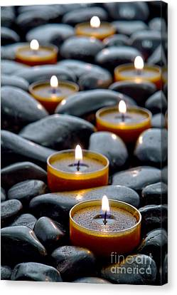 Candle Lit Canvas Print - Meditation Candles by Olivier Le Queinec