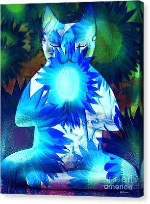 Meditation Kitty / Midnight Meditations On The Blue Sunflower Canvas Print