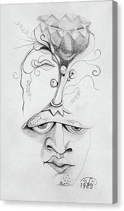 Meditation On The Crown Chakra Or Where Is Your Mind Going Surrealistic Fantasy Of Face With Energy  Canvas Print by Rachel Hershkovitz