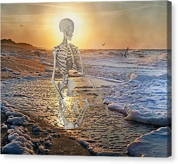 Human Skeleton Canvas Print - Meditative Morning by Betsy Knapp