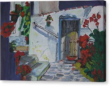 Mediterranean Villa Canvas Print by Kate Farrant