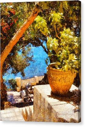 Mediterranean Steps Canvas Print by Pixel Chimp