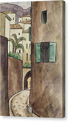 Mediterranean Street And Houses Canvas Print by Louis Robert Antral