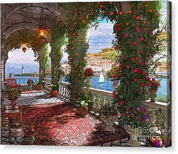 Mediterranean Veranda Canvas Print by Dominic Davison
