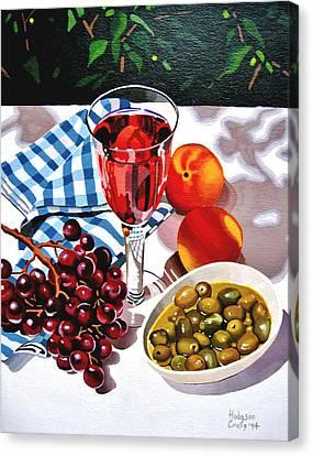 Still Life Of Wine And Grapes Canvas Print - Mediterranian Table by Jeni Hodgson-Craig