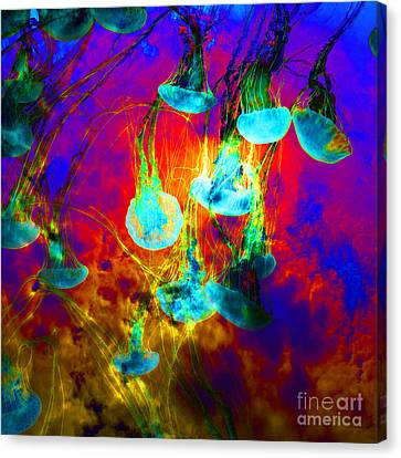 Medusas On Fire 5d24939 Square Canvas Print by Wingsdomain Art and Photography