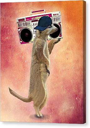 Meerkat With A Ghettoblaster Canvas Print by Kelly McLaughlan