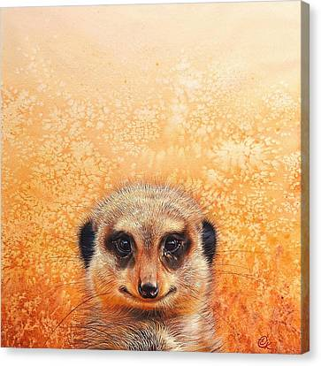 Meerkat's Smile Canvas Print by Elena Kolotusha