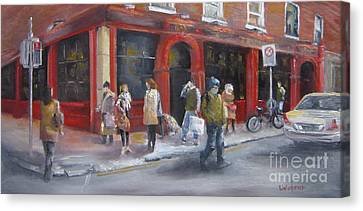 Meet Me At The Corner Bar Canvas Print by Leah Wiedemer
