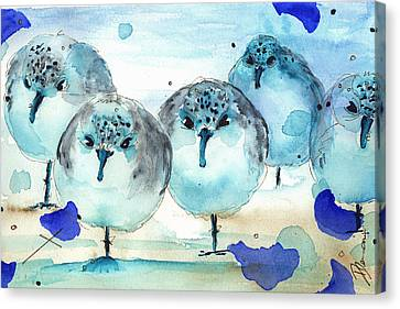 Meet The Sanderlings Canvas Print by Dawn Derman