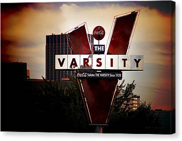 Canvas Print featuring the photograph Meeting At The Varsity - Atlanta Icons by Mark E Tisdale