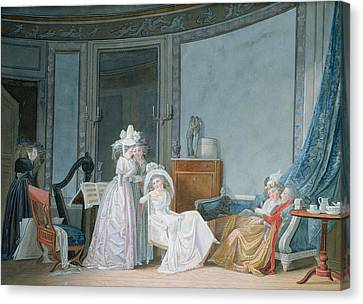 Meeting In A Salon, 1790 Gouache On Paper Canvas Print by Jean Baptiste Mallet
