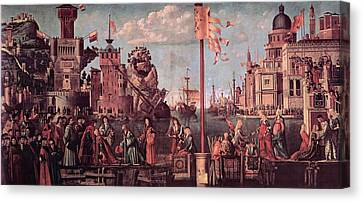 Betrothed Canvas Print - Meeting Of The Betrothed Couple And The Departure Of The   Pilgrims by Vittore Carpaccio