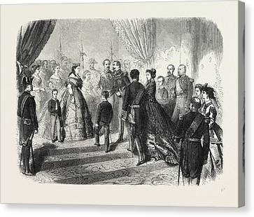 Meeting Of The French And Spanish Royal Families Canvas Print by English School