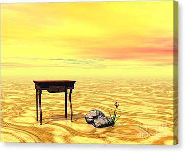 Meeting On Plain - Surrealism Canvas Print by Sipo Liimatainen