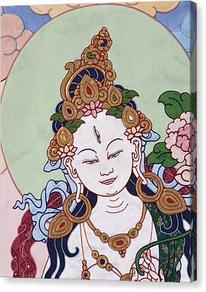 Meeting White Tara Canvas Print by Leslie Rinchen-Wongmo