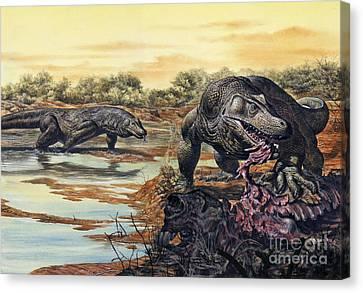 Megalania Giant Monitor Lizard Eating Canvas Print by Mark Hallett
