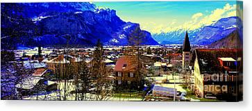 Meiringen Switzerland Alpine Village Canvas Print