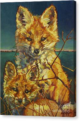 Fox Kit Canvas Print - Mel And Todd by Patricia A Griffin