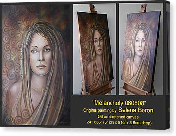 Canvas Print featuring the painting Melancholy 080808 Comp by Selena Boron