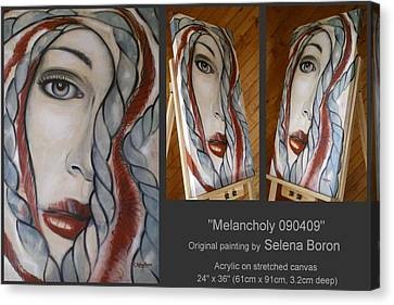 Canvas Print featuring the painting Melancholy 090409 by Selena Boron