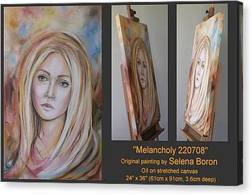 Canvas Print featuring the painting Melancholy 220708 by Selena Boron