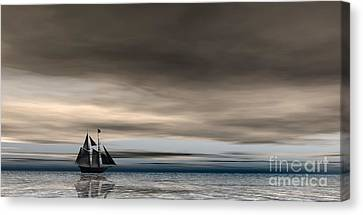 Canvas Print featuring the digital art Melancholy Waters by Sandra Bauser Digital Art