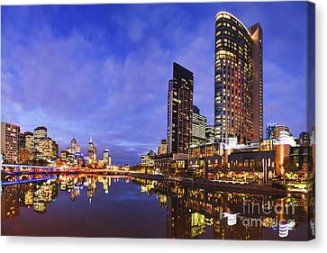 Melbourbe Skyline And Yarra River At Twilight Square Canvas Print by Colin and Linda McKie