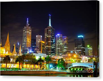 Melbourne City Skyline - Skyscapers And Lights Canvas Print by David Hill