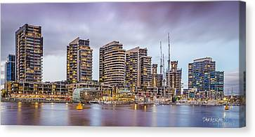 Melbourne Docklands At Dusk Canvas Print by Paradigm Blue