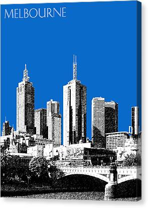 Melbourne Skyline 1 - Blue Canvas Print by DB Artist