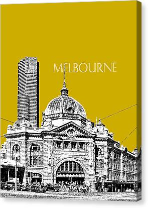Melbourne Skyline 2 Flinders Street Station - Gold Canvas Print by DB Artist