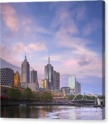 Melbourne Skyline Twilight Square Canvas Print by Colin and Linda McKie