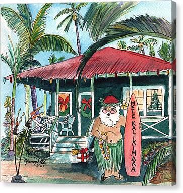 Mele Kalikimaka Hawaiian Santa Canvas Print